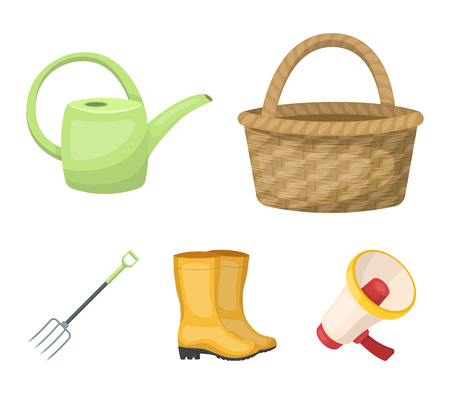 Basket wicker, watering can for irrigation, rubber boots, forks. Farm and gardening set collection icons in cartoon style vector symbol stock illustration web.