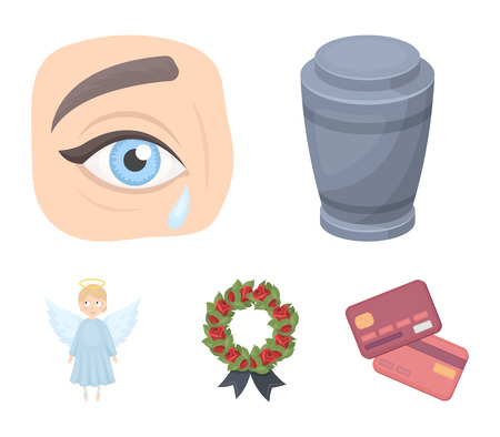 The urn with the ashes of the deceased, the tears of sorrow for the deceased at the funeral, the mourning wreath, the angel of death. Funeral ceremony set collection icons in cartoon style vector symbol stock illustration web. Archivio Fotografico - 95473018