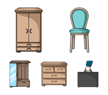 Armchair, cabinet, bedside, table .Furniture and home interiorset collection icons in cartoon style vector symbol stock illustration web.