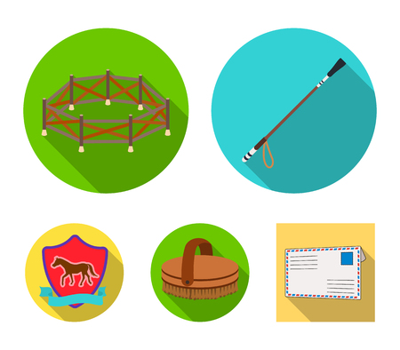 Aviary, whip, emblem, hippodrome. Hippodrome and horse set collection icons in flat style vector symbol stock illustration web.