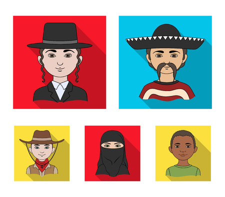 A mexican, a jew, a woman from the middle east, an american. The human race set collection icons in flat style vector symbol stock illustration web. Stock Illustratie