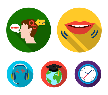 Mans head translating text, talking mouth, headphones with translation, globe with graduation hat and a clock. Interpreter and translator set collection icons in flat style vector symbol stock illustration web.