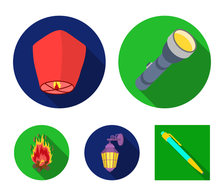 A flashlight, an air lantern, a lantern on the wall, a bonfire.Light source set collection icons in flat style vector symbol stock illustration web. Illustration