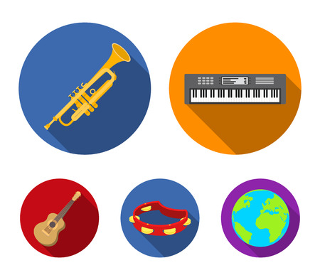 Electro organ, trumpet, tambourine, string guitar. Musical instruments set collection icons in flat style vector symbol stock illustration web. Illustration