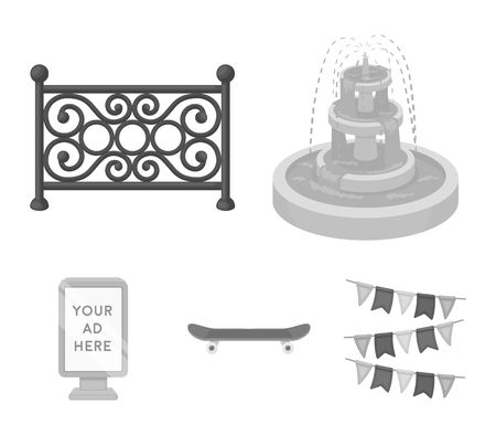 Fountain, fence, skateboard and billboard. Park set collection icons in monochrome style vector symbol stock illustration web.