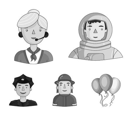 Un astronauta en un traje espacial, un compañero de trabajo con un micrófono, un bombero con casco, un policía con una placa en su gorra. Las personas de diferentes profesiones establecen iconos de colección en estilo monocromo vector símbolo stock ilustración web.