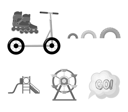 Ferris wheel with ladder, scooter. Playground set collection icons in monochrome style vector symbol stock illustration web.