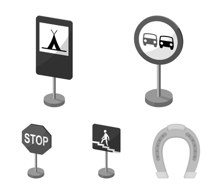 Different types of road signs monochrome icons in set collection for design. Warning and prohibition signs vector symbol stock web illustration. Archivio Fotografico - 95447278