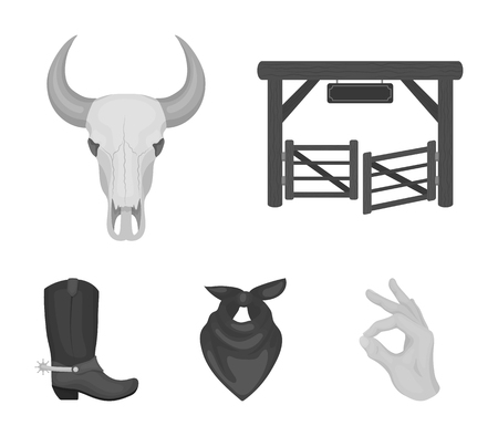 Gates, a bulls skull, a scarf around his neck, boots with spurs. Rodeo set collection icons in monochrome style vector symbol stock illustration web.