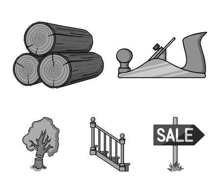 Logs in a stack, plane, tree, ladder with handrails. Sawmill and timber set collection icons in monochrome style vector symbol stock illustration web.