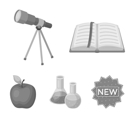 An open book with a bookmark, a telescope, flasks with reagents, a red apple. Schools and education set collection icons in monochrome style vector symbol stock illustration web.