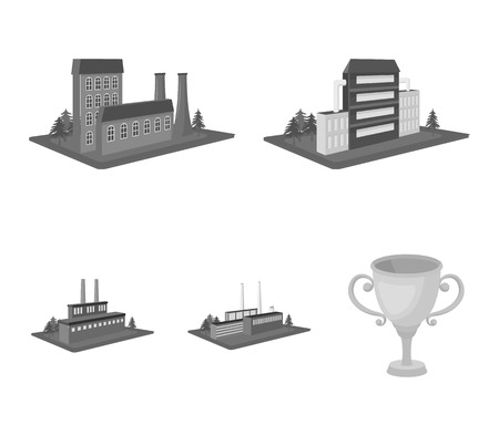 Processing factory,metallurgical plant. Factory and industry set collection icons in monochrome style isometric vector symbol stock illustration web. Stock Illustratie