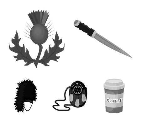 National Dirk Dagger, Thistle National Symbol, Sporran, glengarry. Scotland set collection icons in monochrome style vector symbol stock illustration web.