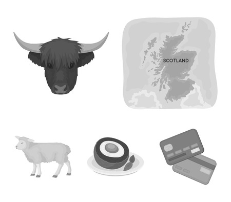 Territory on the map, bulls head, cow, eggs. Scotland country set collection icons in monochrome style vector symbol stock illustration web.