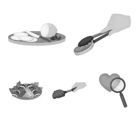 Tongs with steak, fried meat on a scoop, slicing lemon and olives, shish kebab on a plate with vegetables. Food and Cooking set collection icons in monochrome style vector symbol stock illustration web.