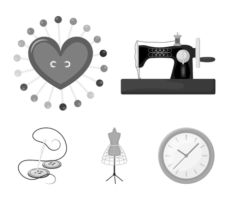 Needle and thread, sewing machine, pincushion, dummy for clothing. Sewing and equipment set collection icons in monochrome style vector symbol stock illustration web.