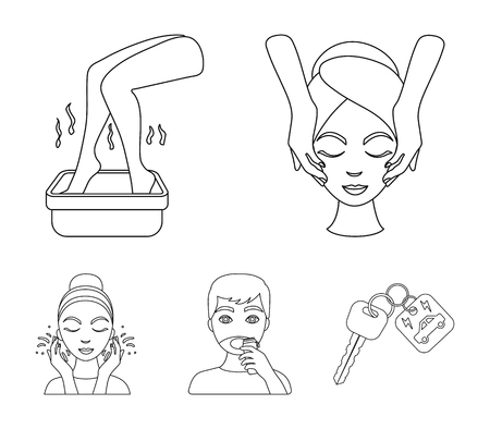 Face massage, foot bath, shaving, face washing. Skin Care set collection icons in outline style vector symbol stock illustration web. Ilustracja