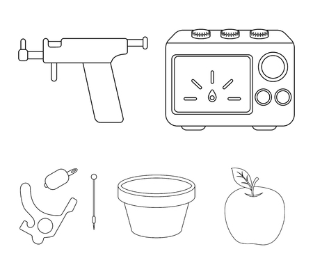 Ink, piercing machine and other equipment. Tattoo set collection icons in outline style vector symbol stock illustration web.