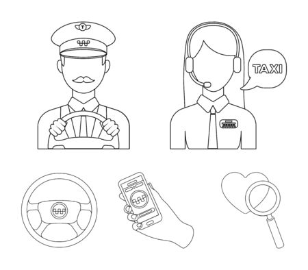 Taxi set collection icons in outline style vector symbol stock illustration web.