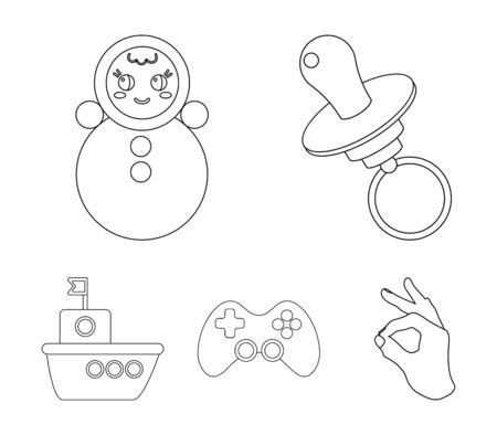 Nipple, doll tumbler, joystick, ship.Toys set collection icons in outline style vector symbol stock illustration web.