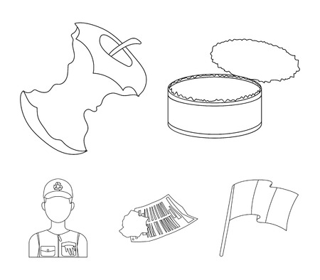 Garbage and trash set collection icons in outline style vector symbol stock illustration web. Illustration