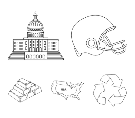 Football players helmet, capitol, territory map, gold and foreign exchange. USA Acountry set collection icons in outline style vector symbol stock illustration web.  イラスト・ベクター素材