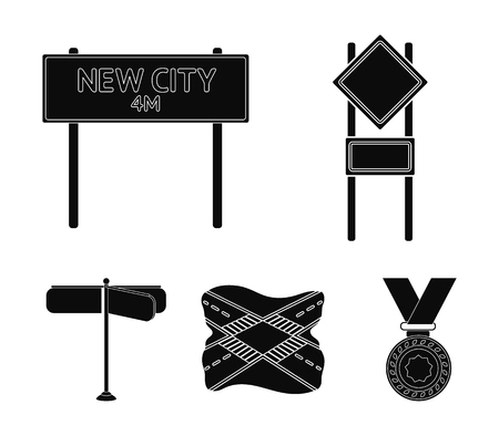 Road signs and other web icon in black style.Road junctions icons in set collection.
