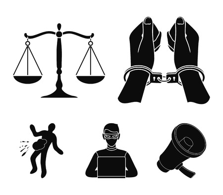 Handcuffs, scales of justice, hacker, crime scene.Crime set collection icons in black style vector symbol stock illustration web.