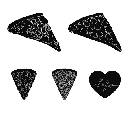 A slice of pizza with different ingredients. Different pizza set collection icons in black style vector symbol stock illustration web.