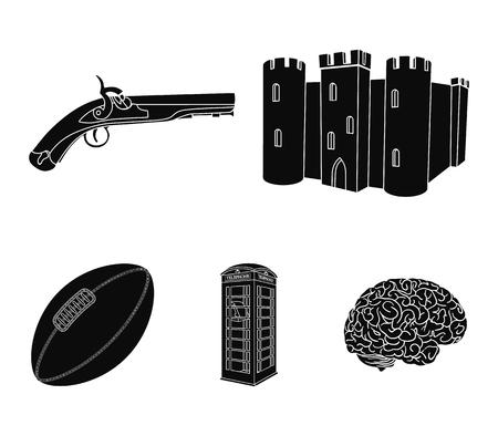 Voetbal, telefooncel, kasteel, oud pistool. Vastgestelde de inzamelingspictogrammen van het land van Engeland in zwarte de voorraadillustratie van het stijl vectorsymbool. Stock Illustratie