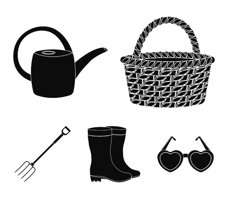 Basket wicker, watering can for irrigation, rubber boots, forks. Farm and gardening set collection icons in black style vector symbol stock illustration web. Ilustração