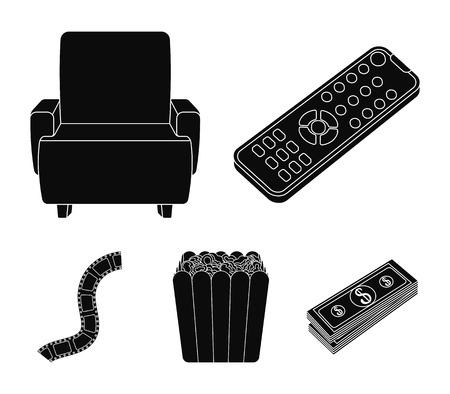 Bedieningspaneel, een fauteuil om te bekijken, popcorn. Films en films instellen collectie pictogrammen in zwarte stijl vector symbool stock illustratie web.