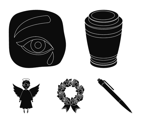The urn with the ashes of the deceased, the tears of sorrow for the deceased at the funeral, the mourning wreath, the angel of death. Funeral ceremony set collection icons in black style. Vector symbol stock illustration web.