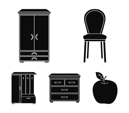 Armchair, cabinet, bedside, table .Furniture and home interior set collection icons in black style vector symbol stock illustration .