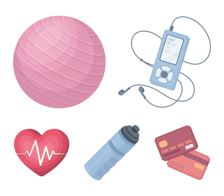 Music player, a bottle of water and other equipment for training.Gym and workout set collection icons in cartoon style vector symbol stock illustration .