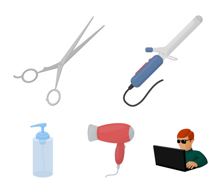 Hairdryer, hair dryer, lotion, scissors. Hairdresser set collection icons in cartoon style. Vector symbol stock illustration web. Illustration
