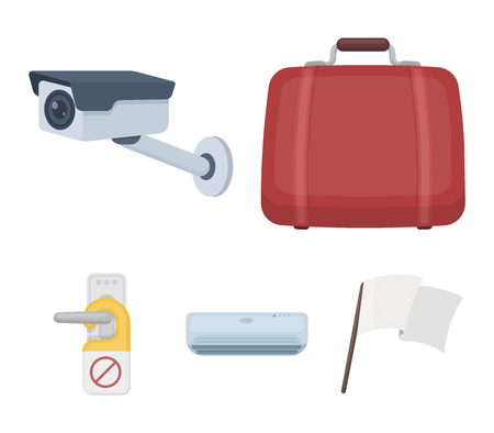 Luggage, surveillance camera, air conditioning, do not disturb the sign. Hotel set collection icons in cartoon style. Vector symbol stock illustration web.
