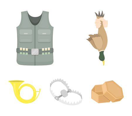 A trophy in his hand, a steel trap, a hunting vest with patronage, a horn. Hunting set collection icons in cartoon style. Vector symbol stock illustration web.