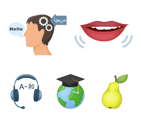 The mouth of the person speaking, the persons head translating the text, the globe with the masters cap, the headphones with the translation. Interpreter and translator set collection icons in cartoon style vector symbol stock illustration .