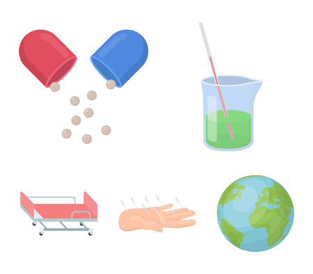 Solution, tablet, acupuncture, hospital gurney. Medicine set collection icons in cartoon style. Vector symbol stock illustration web.