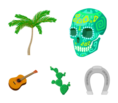Green skull with paint, a palm tree, a guitar, a national Mexican instrument, a cactus with spines. Mexico country set collection icons in cartoon style vector symbol stock illustration . Illustration