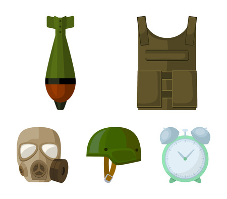 Bullet-proof vest, mine, helmet, gas mask. Military and army set collection icons in cartoon style vector symbol stock illustration . Illustration