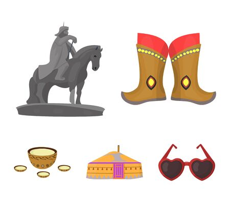 Military boots, a monument to the rider, a national tent, a milk drink. Mongolia set collection icons in cartoon style. Vector symbol stock illustration web.