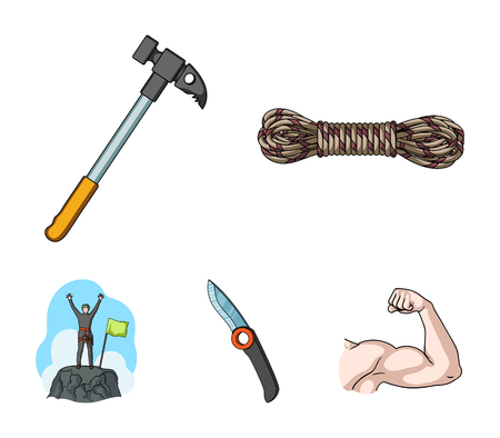 Climber on conquered top, coil of rope, knife, hammer. Mountaineering set collection icons in cartoon style. Vector symbol stock illustration web.