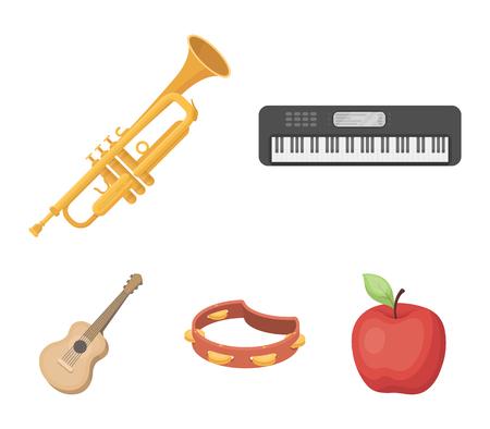 Elektro-Orgel, Trompete, Tamburin, Streichgitarre. Musikinstrumente stellten Sammlungsikonen in der Karikaturart ein. Vektorsymbolvorrat-Illustrationsnetz. Standard-Bild - 95526919