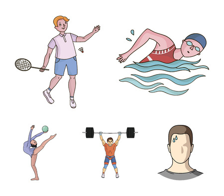 Swimming, badminton, weightlifting, artistic gymnastics. Sport set collection icons in cartoon style. Vector symbol stock illustration web. Illustration
