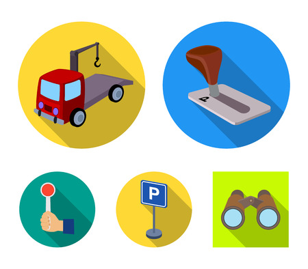 Transmission handle, tow truck, parking sign, stop signal. Parking zone set collection icons in flat style. Vector symbol stock illustration web.