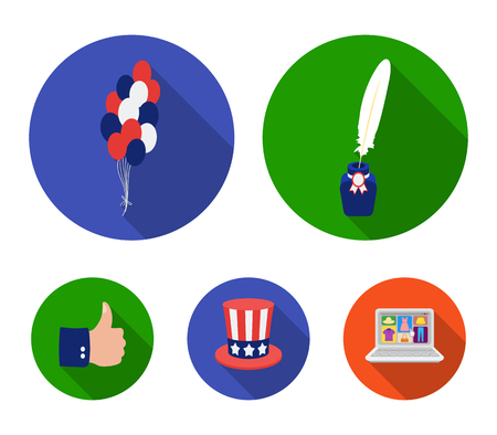 Balloons, inkwell with a pen, uncle Sam hat. The patriots day set collection icons in flat style. Vector symbol stock illustration web.