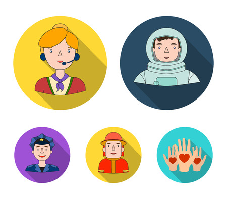 An astronaut in a spacesuit, a co-worker with a microphone, a fireman in a helmet, a policeman with a badge on his cap. People of different professions set collection icons in flat style. Vector symbol stock illustration web.