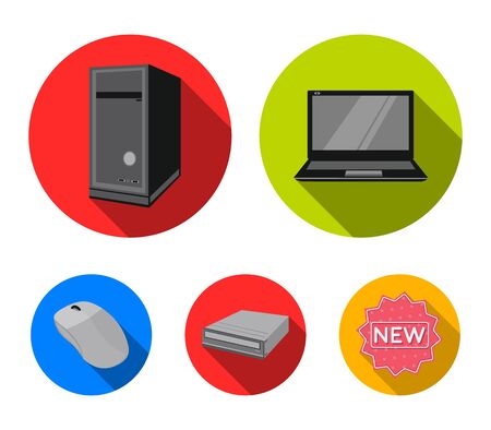 Laptop, computer mouse and other equipment. Personal computer set collection icons in flat style. Vector symbol stock illustration web. Illustration